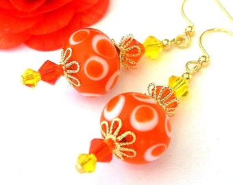 Orange polka dot earrings with yellow, lampwork, Swarovski crystal - Citrus Gems