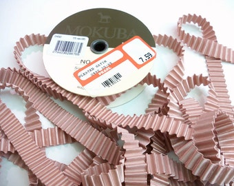 Rare Very High End Mokuba Pleated Satin Ribbon in a dusty pink mauve color 15mm wide 14+ foot length