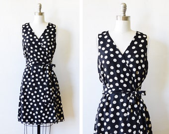 polka dot dress, vintage black and white polka dot wrap dress, 90s wrap dress