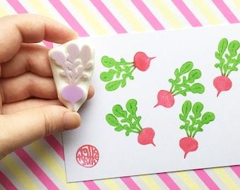 radish hand carved rubber stamp. vegetable stamp. food stamp. garden stamp. birthday scrapbooking gift wrapping. spring summer crafts
