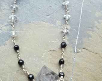 Herkimer Diamond, Onyx and Quartz Crystal Bracelet