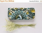Cosmetic Pouch, Zipper Purse, Green Peacocks, Gift For Coworker