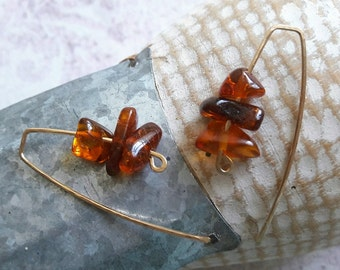 14 Karat wire Amber Earrings, Cognac brown polished Baltic Amber jewelry, Free shipping
