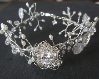 Silver Bracelet Nest and Leaves - Sterling Silver