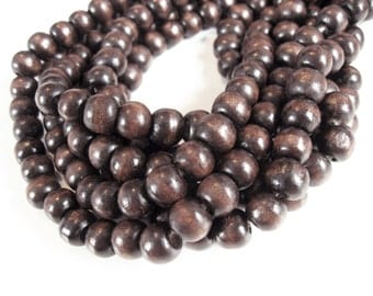 Wood round beads - Coffee Brown Natural Wooden Dye Beads 10x9mm - 30pcs  (PB222A)