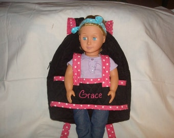 Doll Carrier in Black with pink accents