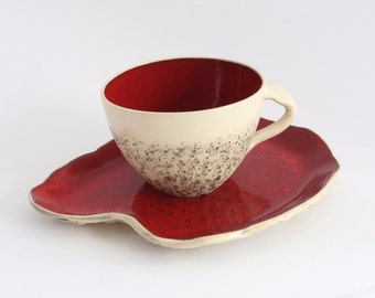 Christmas gift  -  Handmade ceramic TEA CUP with SAUCER, Red
