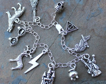 Wizards and Witches Charm Bracelet - Broom, Skull, Castle, Cauldron, Stag, Owl, Lightning Bolt & More - on sterling silver chain