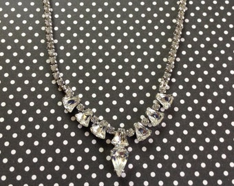 Elegant Vintage Clear Rhinestone Choker Necklace NOS New Old Stock Sparkling Rhinestones