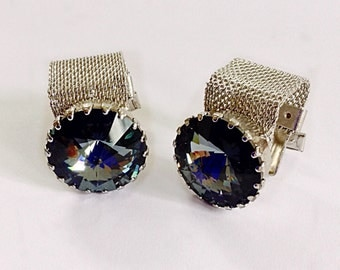 Vintage Midcentury Silver Blue Faceted Prism Chunky Glass & Silvertone Mesh Cufflinks