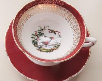 Vintage Maroon Gilt China  - Cup Saucer, Exotic Bird China, Decorative China, Royal Grafton China,