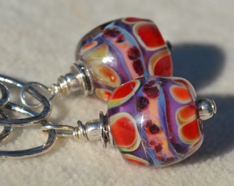 Reserve for Patrice-ART and SOUL-Handmade Lampwork and Sterling Silver Earrings