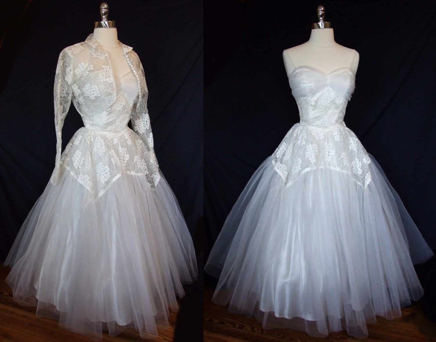 SALE Wedding Dress Vintage 1950s Chantilly Tulle Lace