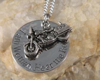 I am Woman. Hear me Roar. Motorcycle Necklace