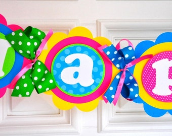 Happy Birthday Party Banner, Candyland Party Banner in Hot Pink, Yellow, Turquoise, Orange and Lime Green,