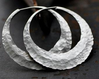 """1 3/4"""" half moon hoop, extra wide, sterling silver round endless loop earring"""