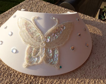 White Embellished Foam Visor with Butterfly Applique