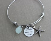 saltwater heals my soul, stainless steel adjustable beach bangle bracelet, silver pewter starfish charm, genuine sea glass , beach jewelry