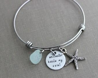 saltwater heals my soul, stainless steel adjustable beach bangle bracelet, silver pewter starfish charm, genuine sea glass , beach jewelry