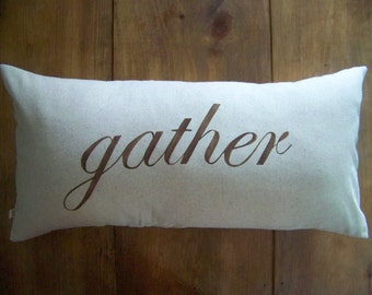 gather pillow - fall home decor - cushion - harvest - thanksgiving - autumn - holiday - natural - jennifer helene home