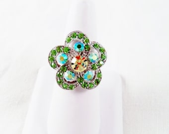 Gorgeous Green Crystals And Silvertone Adjustable Ring