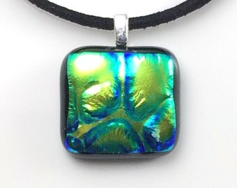 Fused glass pendant, green blue dichroic glass necklace, green glass necklace, dichroic glass jewellery, green glass pendant OOAK EP 387