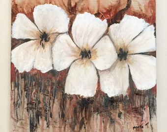 "Handmade, Original, Abrstract, Acrylic Painting,  Modern  "" Flowers"" 12 x 12 x 3/4Deep   - By Maite Tobon"
