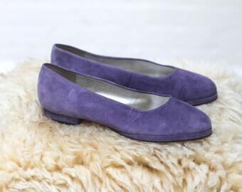 purple rain -- Vintage 80s sude purple minimalist flats size 6 B
