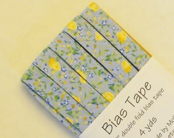 """Bias Tape - 4 yds of 1/2"""" Double Fold - Blue and Yellow Floral"""
