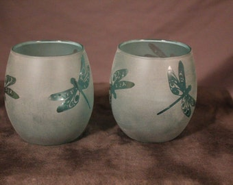 Aqua 3 Dragonflies stemless red wine glasses or candle holders set of 2