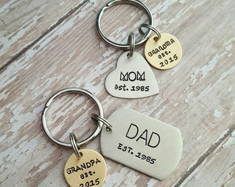 Custom hand stamped, Personalized, JBK, dad/grandpa or  mom/grandma keychain