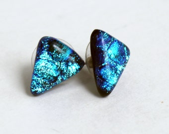 Triangle Silver Blue OOAK Stained Glass Fused Dichroic Post Jewelry Earrings - All Occasion Gift