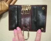 Vintage retro unisex folding leather key case, oxblood leather Bosca key fob, key fob, key holder cash holder, leather goods, tri fold keys