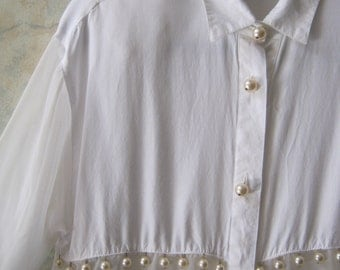 Vintage disco era dangling pearls white blouse, sheer white blouse, white shirt pearl button dangles, size S or M white sheer top blouse