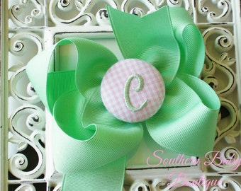 New Item---Boutique Monogrammed Baby Toddler Girl Hair Bow Clip---GINGHAM---Mint Green and Pink---Letter C--Ready to Ship