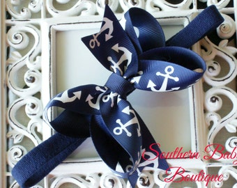 New Item---Boutique Baby Girl Toddler Hair bow Dainty Headband---Anchors Baby