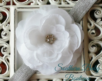 NEW ITEM---Boutique Baby Girl Toddler Soft Stretch Headband Rhinestone Flower---White and Silver