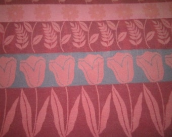 Vintage Beautiful 1930s Art Deco Raspberry Pink and Blue Floral Camp Blanket