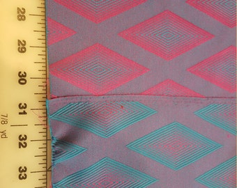 Reversible Purple Turquoise Fuschia Diamond Jacquard 3yd