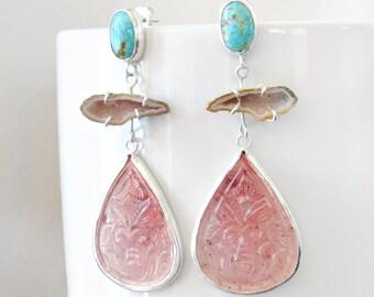 Boho Chandelier Earrings, Turquoise, Blue, Pink Peach, Gemstone Drop, Long Dangle Earrings, Sterling Silver Jewelry