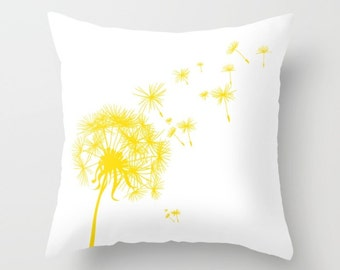 Yellow Dandelion Throw Pillow or Cover
