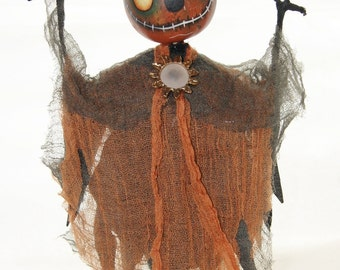 Gourd Halloween Scarecrow Man, Folk Art  Swamp Creature,  Home Grown Hand Painted gourd