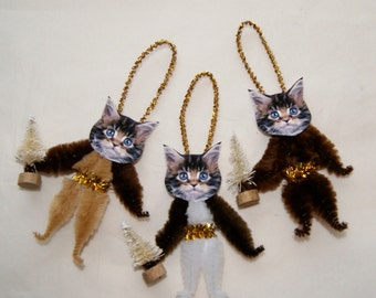 Chenille Cat Ornaments, Primitive, Vintage Style, Trio of Kittens (170)