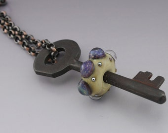 Ivory Purple Luster Dot Ivory Metallic Rustic Skeleton Key Copper Pendant Necklace Lampwork Bead Handmade Glass Heather Behrendt SRA 3509