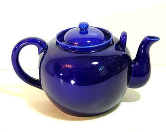 Cobalt Blue Stoneware Teapot, Stoneware Teapot, Big Teapot