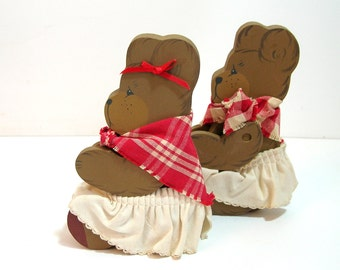 Wood Bears, Country Style Bears, Ladie And Friends, Country Collectibles