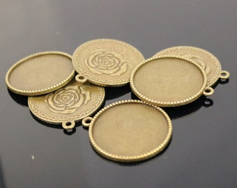 Pendant ROSE Bezels with GLASS Magnifying Domes Cabochon - 5 sets 10 pcs  - 25mm 1(one) inch Antique Brass Bezel and Circle Glass Cabochon