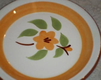 Stangl Pottery Trenton New Jersey orange Bittersweet flower leaf Coaster mini plate dish