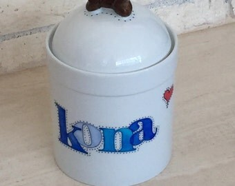 Hand painted porcelain custom personalized treat jar for your dog(s) or cat(s)