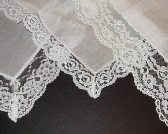 Lot of 3 Vintage White Handkerchiefs - Hankies
